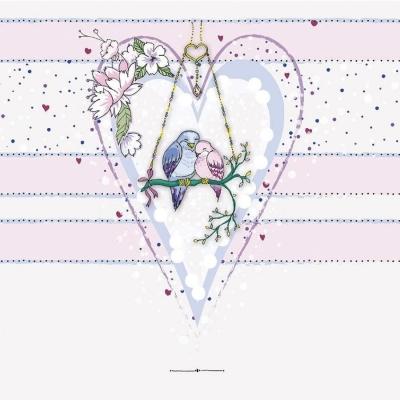 Karnet Swarovski kwadrat CL0224 Ptaszki w sercu