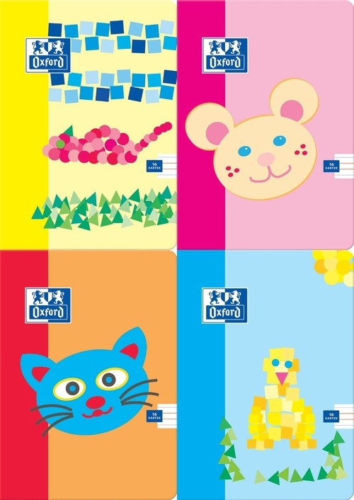 Zeszyt A5 Oxford Kids w trzy linie 16 kartek 10 sztuk mix