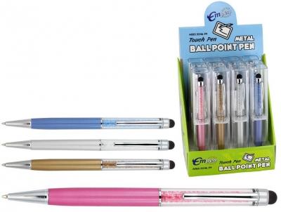 Długopis przezroczysty z kryształkami i gumką do ekranów dotykowych  A02E. 3246 .