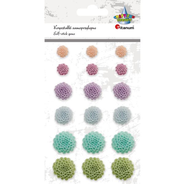 Kwiat Titanum Craft-fun samoprzylepny z żywicy 18 szt