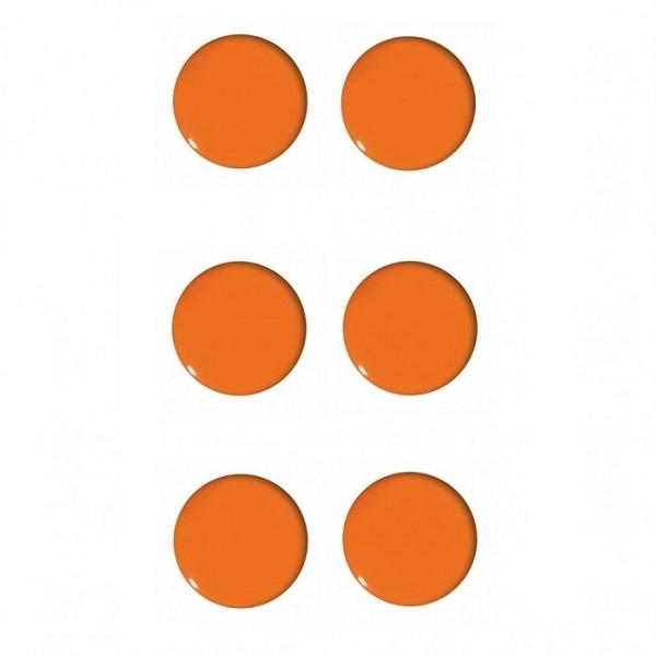Magnesy do tablic pomarańczowe 20mm/6szt. - gładkie (GM400-P6)