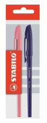 Długopis Stabilo re-liner 868 f niebieski i różowy