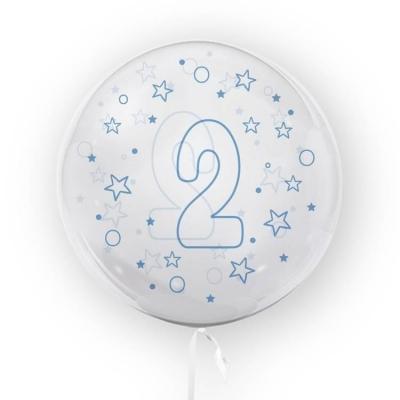 Balon Tuban 45cm cyfra 2 - Gwiazdki, niebieski (TB 3635)