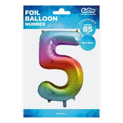 Balon foliowy cyfra 5 tęczowy 85cm 40cal (HS-C34T5)