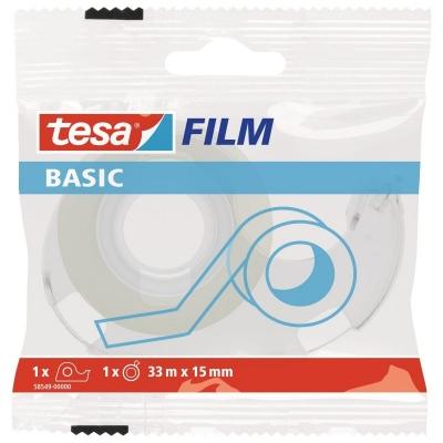 Taśma biurowa Tesa Basic 33m x 15mm z dyspenserem (58549-00000-00)