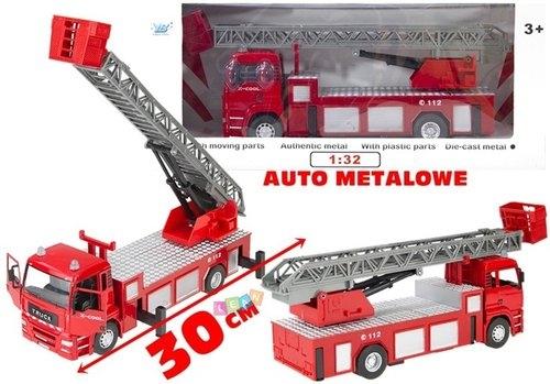 Duże auto metalowe Straż Pożarna 1:32 z drabiną