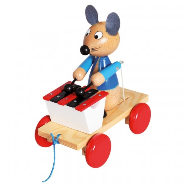 Drewniana zabawka z ksylofonem Pociągnij za mysz (80035)