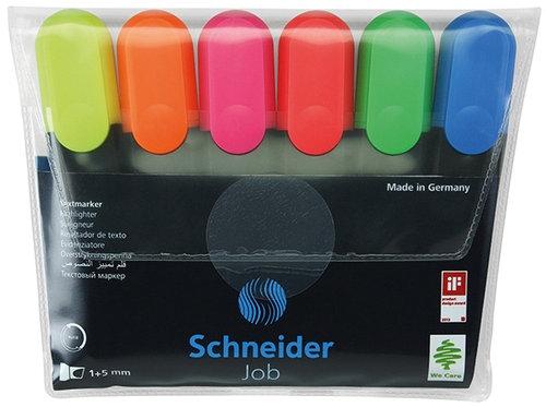 Zestaw zakreślaczy Schneider Job, 1-5 mm, 6 szt., miks kolorów