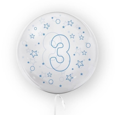 Balon Tuban 45cm cyfra 3 - Gwiazdki, niebieski (TB 3636)