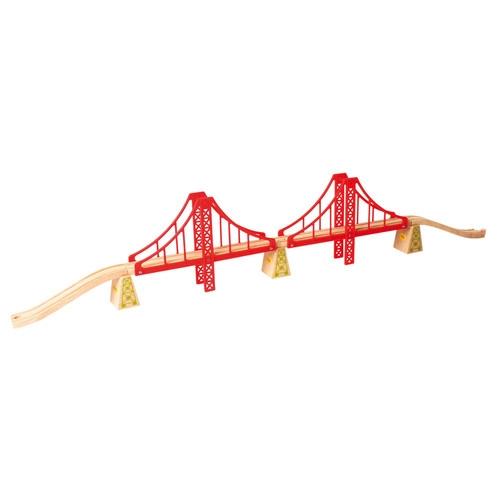 Podwójny most wiszący drewniany