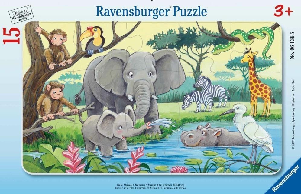 Puzzle ramkowe 15: Afrykańskie zwierzęta (6136)
