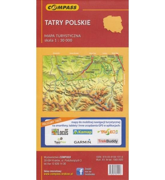 Tatry Polskie, 1:30 000 - mapa turystyczna (1565-2020)