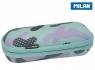 Piórnik owalny usztywniany Milan Turquoise Camouflage turkusowo-fioletowy (081145GM)