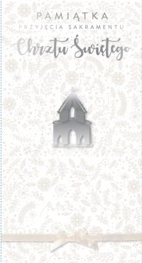 Karnet DL chrzest biały
