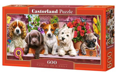 Puzzle 600 Puppies on a Shelf (B-060368)