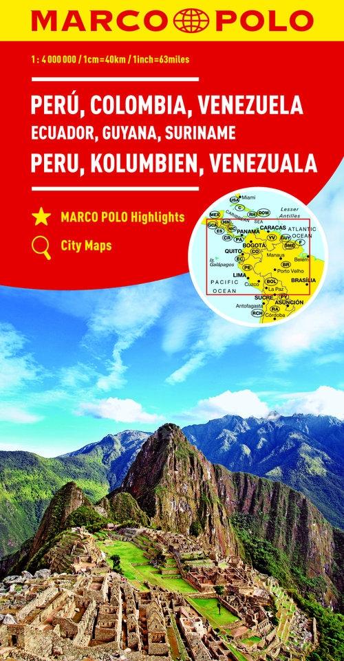 Peru Kolumbia Wenezuela Ekwador Gujana Surinam 1:4 000 000 (Uszkodzona okładka)