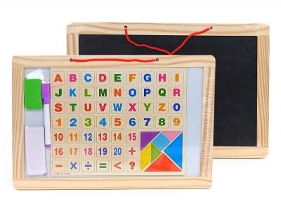 Tablica magnetyczna Adar biała z flamastrem, w drewnianej oprawie, z drewnianymi literkami i liczbami (492370)