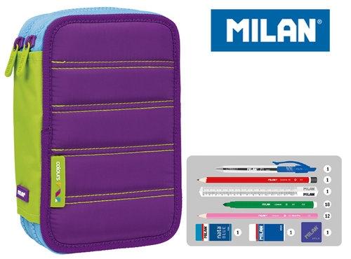 Piórnik MILAN 2-poziomowy z wyposażeniem COLOURS fiolet