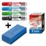 Zestaw markerów suchościeralnych z wymiennym wkładem + gąbka V-Board Master PIWBMA-VBM-S4