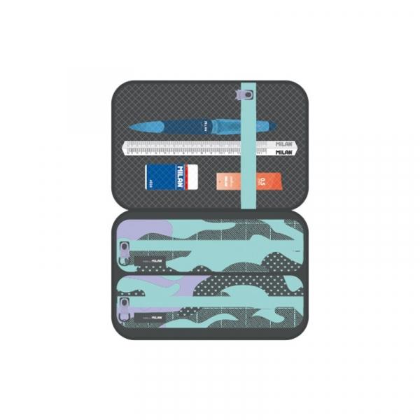 Piórnik usztywniany Milan + 2 saszetki z wyposażeniem Turquoise Camouflage, zielono-fioletowy (08874GM)