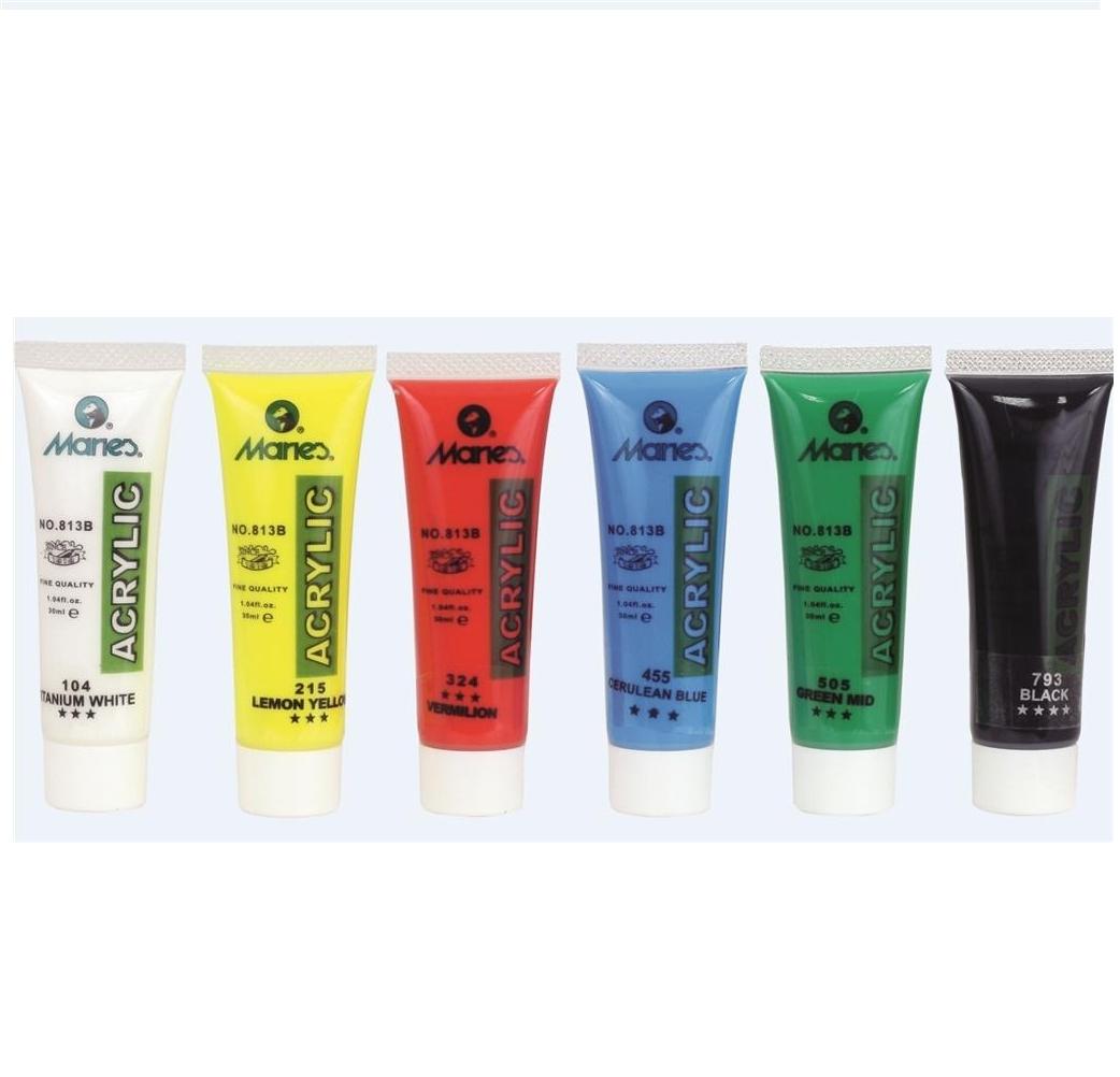 Farby akrylowe Maries 30 ml, 6 kolorów (306284)