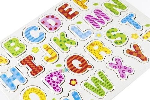 Alfabet Drewniany Układanka 26 Elementów Literki