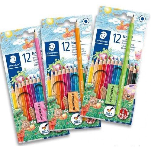 Kredki ołówkowe sześciokątne Noris 12 kolorów + ołówek + gumka + temperówka