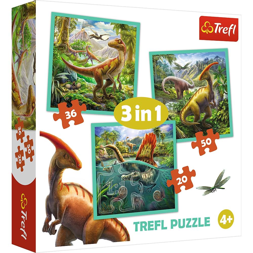 Puzzle 3w1: Niezwykły świat dinozaurów (34837) (Uszkodzone opakowanie)