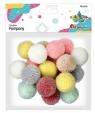 Pompony włóczkowe 3cm kolory pastelowe jasne 18szt