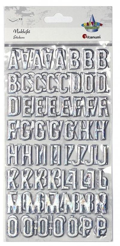 Naklejki wypukłe alfabat i cyfry srebrne 123szt