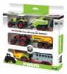 Trzy Traktory z przyczepami w pudełku (02438)