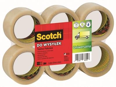 Taśma pakowa Scotch przezroczysta 50 mm 66 m (371)