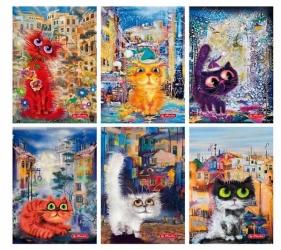 Zeszyt w kratkę, 60K/A5 - polipropylen Crazy Cats