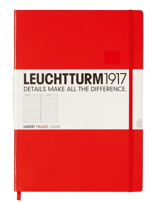 Notatnik Leuchtturm Master Classic w linie czerwony