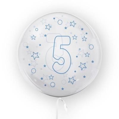 Balon Tuban 45cm cyfra 5 - Gwiazdki, niebieski (TB 3638)