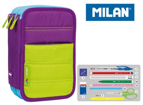 Piórnik MILAN 3-komorowy COLOURS fioletowy