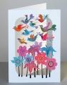 Karnet PM207 wycinany + koperta Ptaszki i kwiaty