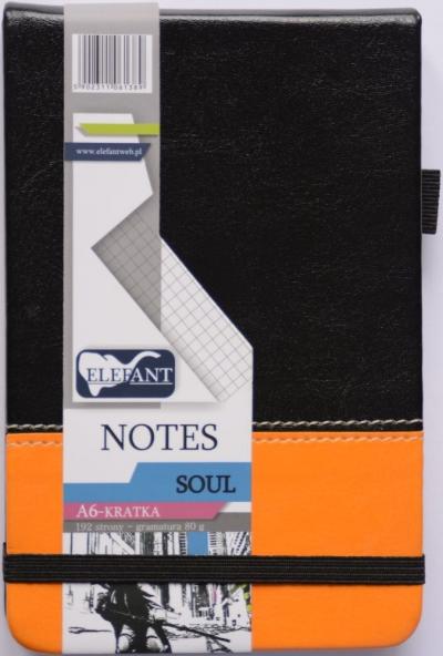 Notes kieszonkowy Soul A6 kratka czarny-pomarańczowy .