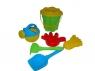 Zestaw Nr383: wiaderko-kwiatek średnie Nr3, sito-kwiatek średnie Nr3, łopatka Nr5, grabki Nr5, foremka