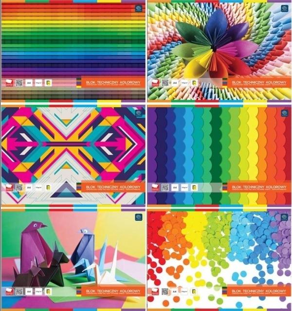 Blok techniczny kolorowy Interdruk A4, 10 kartek