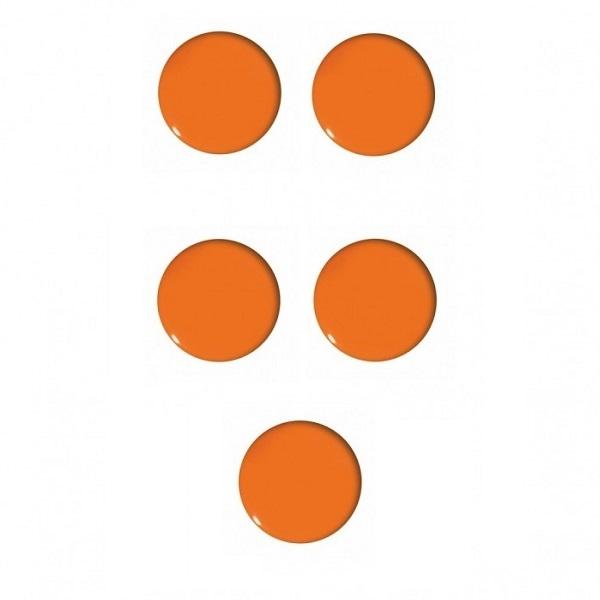Magnesy do tablic pomarańczowe 30mm/5szt. - gładkie (GM401-P5)