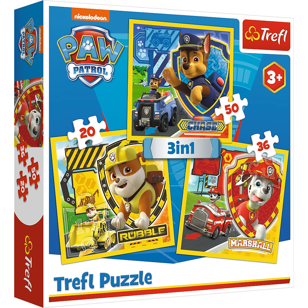 Puzzle 3w1: Psi Patrol - Chase, Marshal, Rubble (34839)
