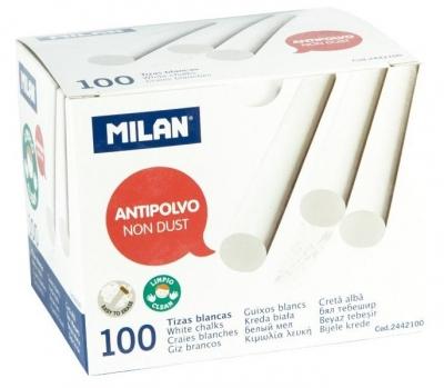 Kreda biała okrągła niepyląca (100szt) MILAN