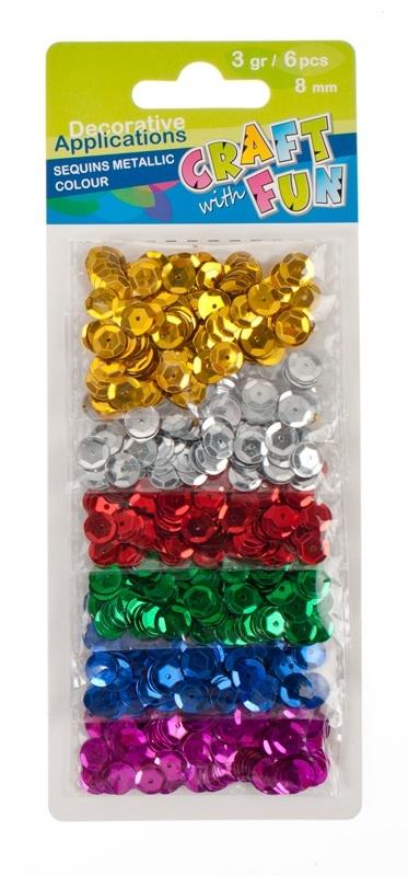 Cekiny metaliczne kółka 8mm - 6 kolorów (290115)