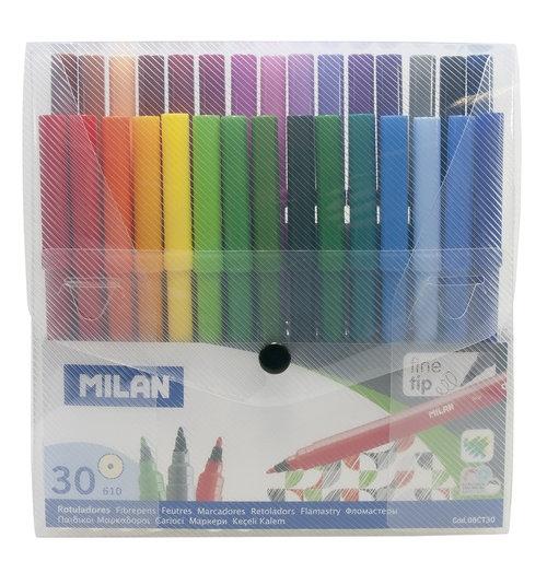 Flamastry Milan 30 kolorów w plastikowym etui