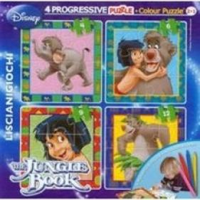 Puzzle Progressive 4. Disney Księga Dżungli (40704)<br />dwustronne puzzle +