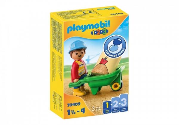 Playmobil 1.2.3 70409 Pr acownik budowlany z tacz (70409)