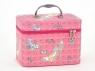 Kuferek Adar walizka z lusterkiem - różowa, L, zamykany na zamek (516397)