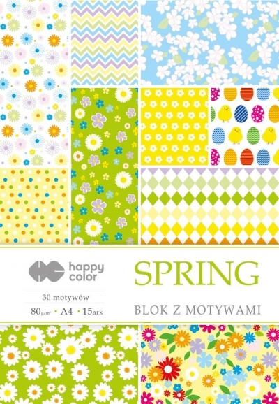 Blok z motywami Spring A4/15ark HAPPY COLOR