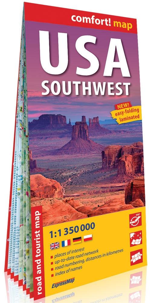 USA południowo-zachodnie (USA Southwest); laminowana mapa turystyczna 1:1 350 000